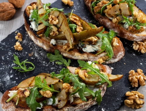 Griddled Pear, Dolcelatte & California Walnut Open Sandwich By Ruby Bhogal