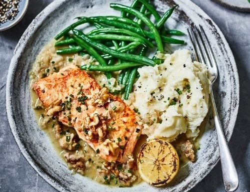 Salmon with Ginger, Lemon & Walnut Sauce